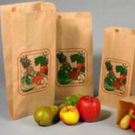 Bruine fruitzakken met standaarddruk